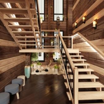 Návrh dřevěných schodů v domě: krásná řešení