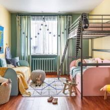 Детская комната для двоих детей: примеры ремонта, зонирование, фото в интерьере-2