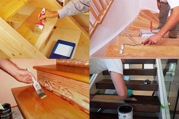 A fa lépcső festése: ajánlások