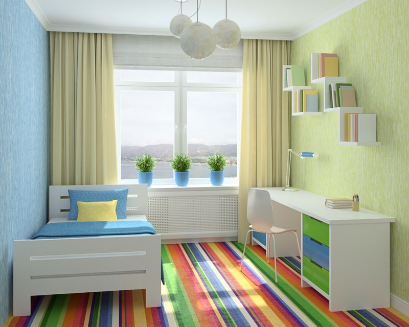 Colorful interior of playroom. 3d render. Photo behind the window was made by me.