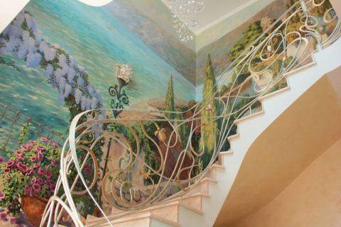 Falfestmény egy szabad fal lépcsőn