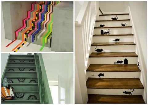 Változatok az öntapadó fólia használatához a lépcsők díszítéséhez