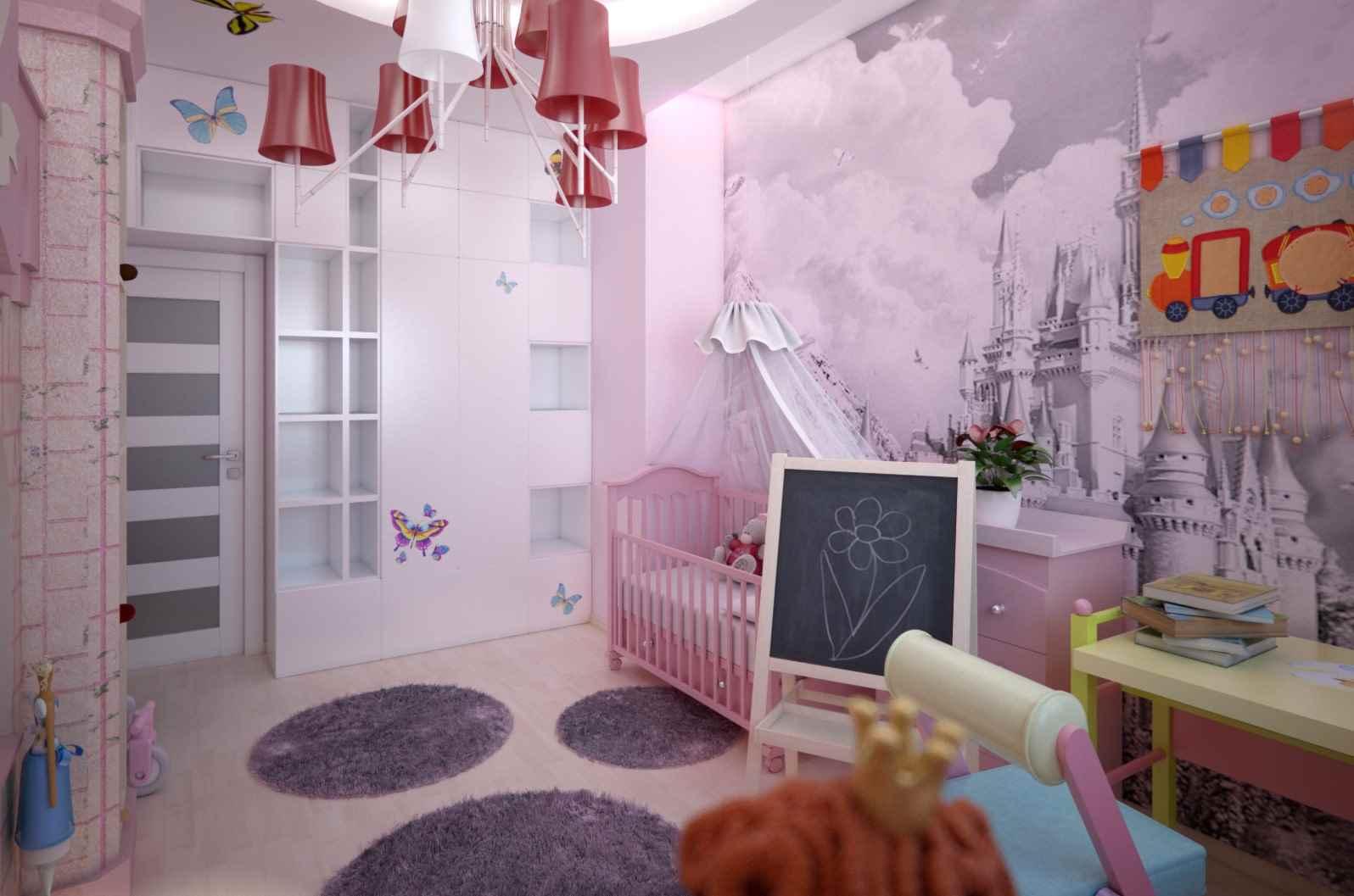 пример красивого интерьера детской комнаты для девочки