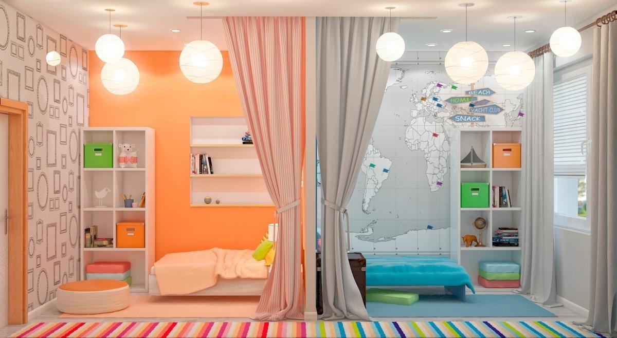 gyermekszoba különböző nemű gyermekek számára